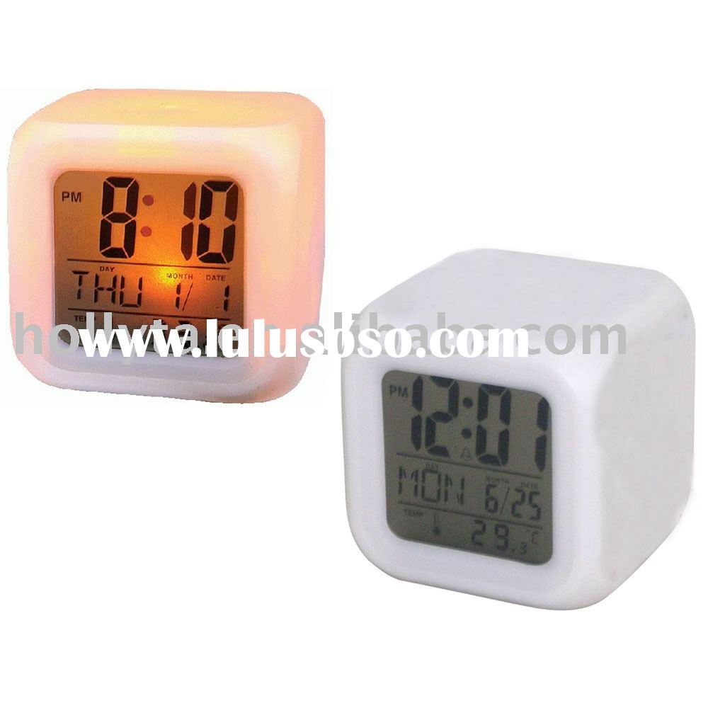 Digital LCD Thermometer Alarm Clock with Color Changing LED Backlight