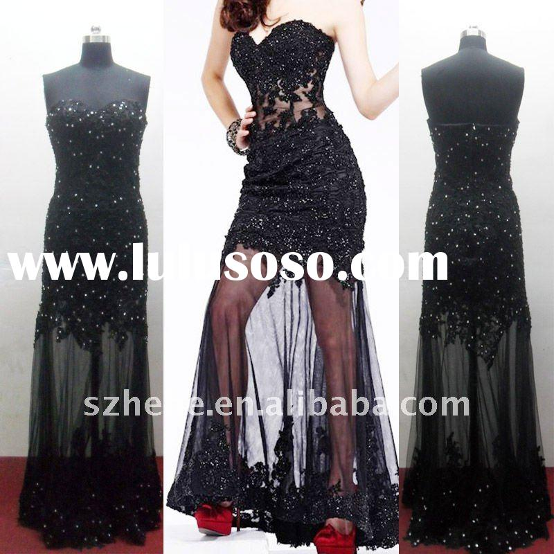 E0164 Real sample embroidery lace black formal evening dress