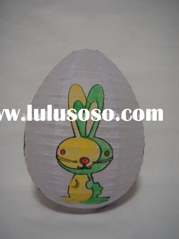 Easter/Party/Home Room Egg Shaped Decoration Hanging Hand Painted Rabbit Paper Lantern