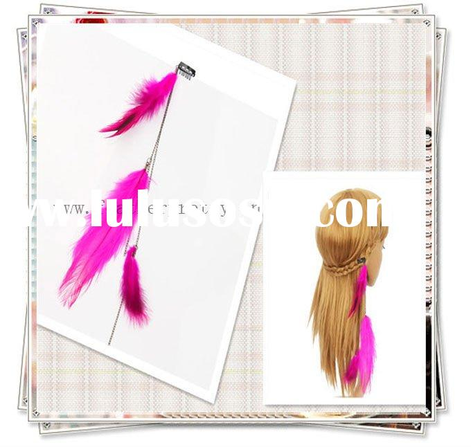 Fashion Beautiful Pink Ostrich Feather Clip-On Hair Extensions Hair Extensions