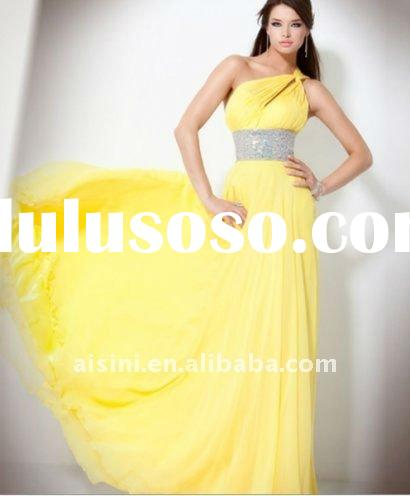 Gorgeous long yellow one shoulder prom dress with rhinestone
