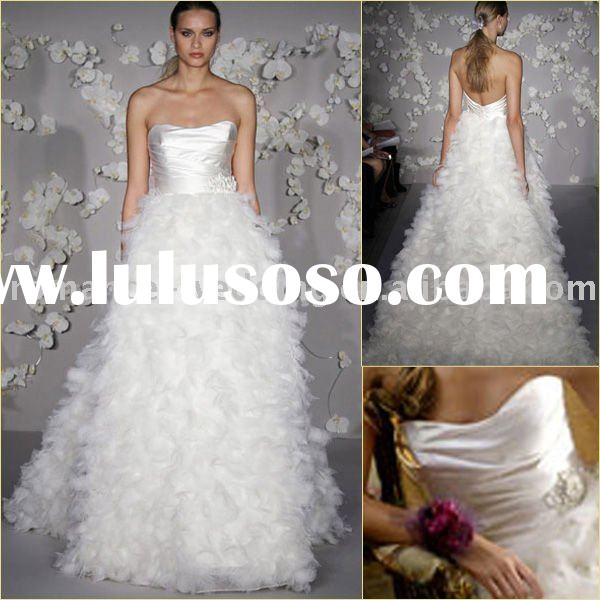 Lo0204 Sweet Angle Corset Feather Strapless Ball gown Wedding Dresses