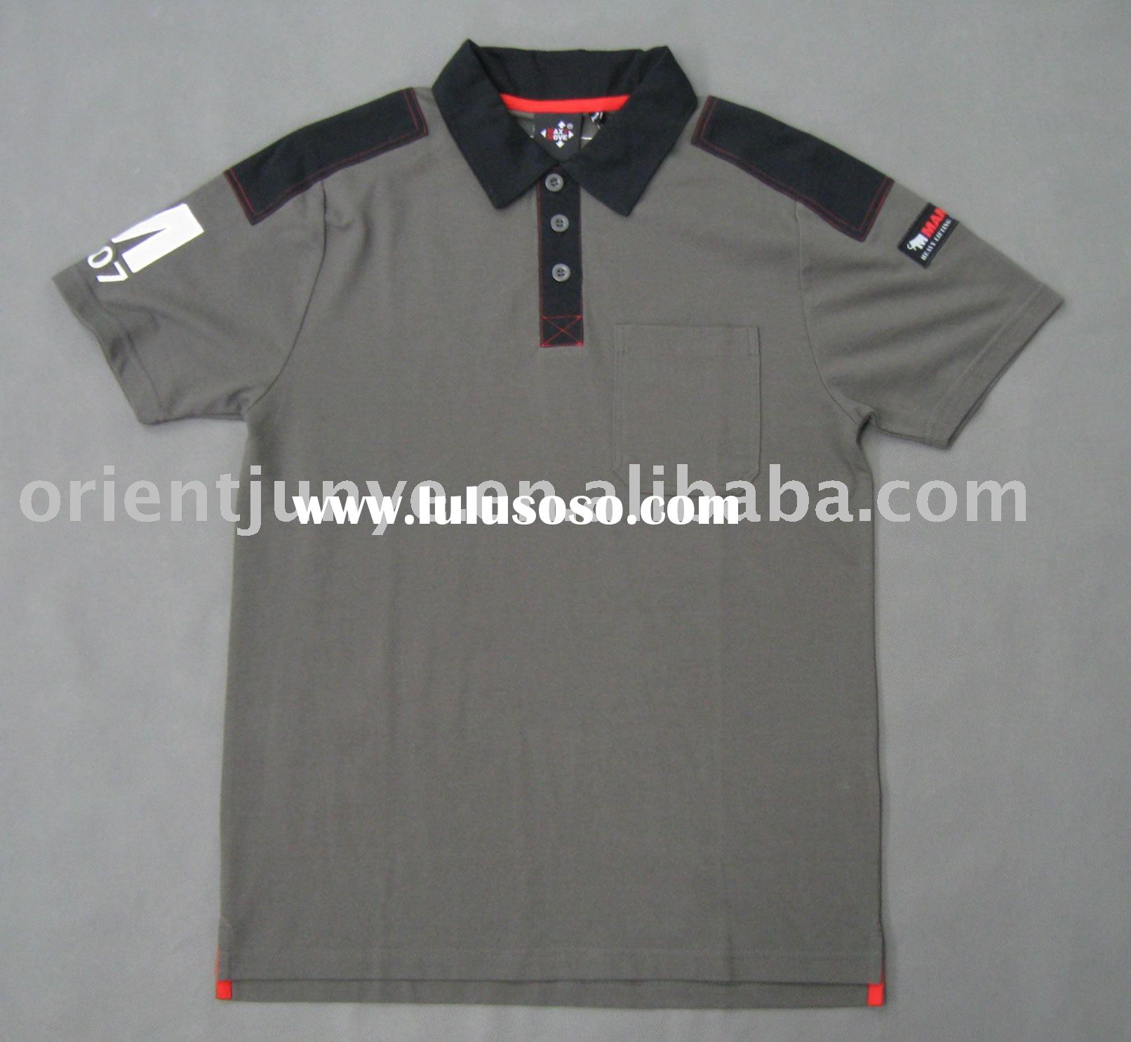 Men's polo T-shirt with patch on shoulder