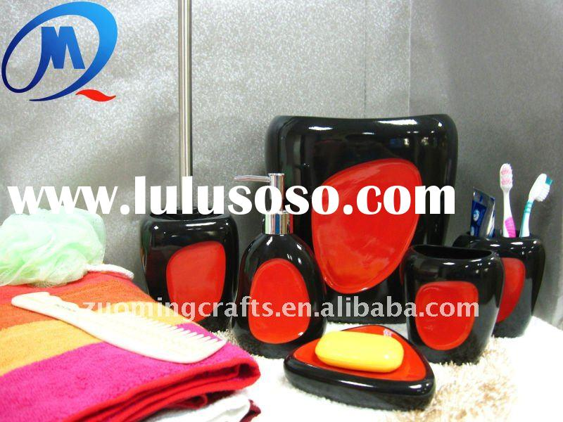 New concept polyresin bathroom accessories black red
