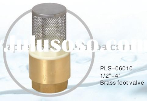 PLS-06010 good quality Brass water pump foot valve with stainless steel strainer