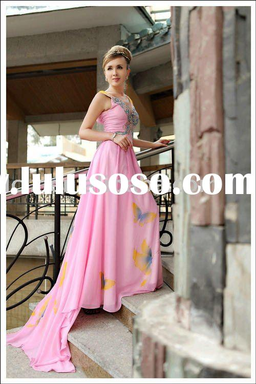 Perfect quality D30257 pink wedding dress V-neck tuffle beading sequins backless