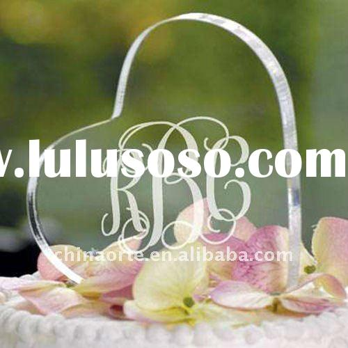 Personalized Etched Crystal Heart Cake Topper For Wedding Decoration