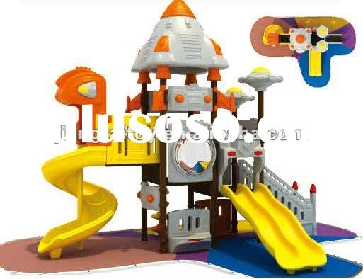 Plastic outdoor playground equipment for kids 2 to 14 years old.