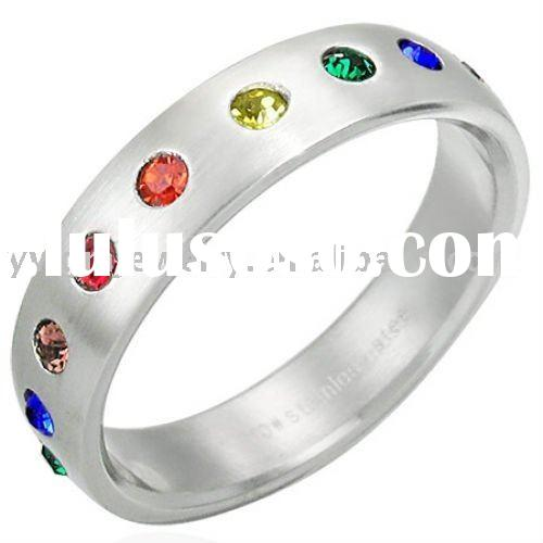 Rainbow Gay Pride CZ Stainless Steel Band Ring