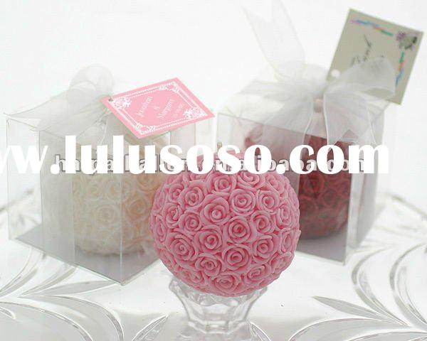 Rose ball shaped Candle in Gift Box for wedding favors