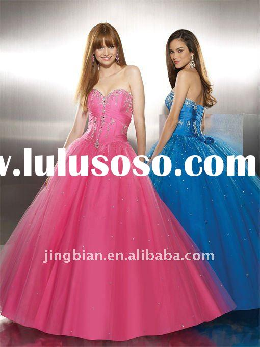 Stunning Fashion Dress 2012 Gorgeous Prom Dresses Beaded Corset Dresses Evening Ball Gown Pink Party