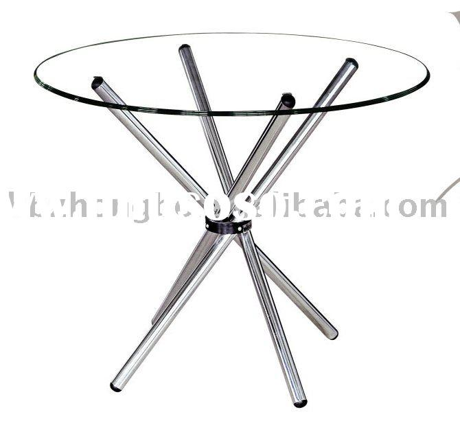 Top round glass dining table