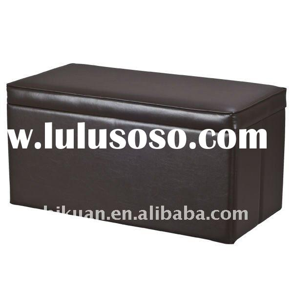 Versatile Faux Leather Storage Ottoman, Espresso