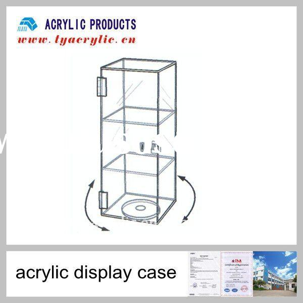 acrylic display case with 2 shelves, a lock and key