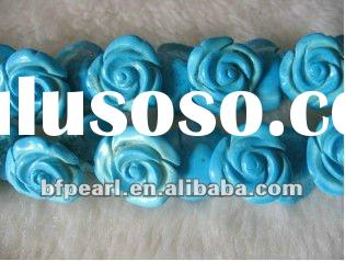 carved rose flower natural turquoise beads