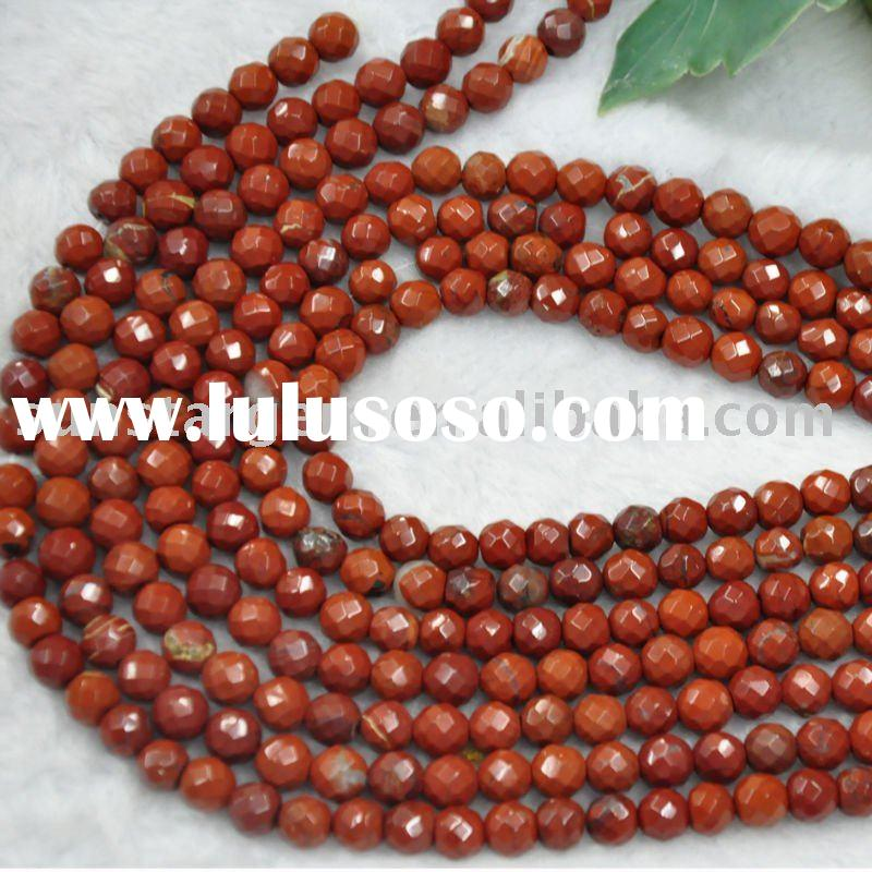 faceted 8mm round bead red jasper