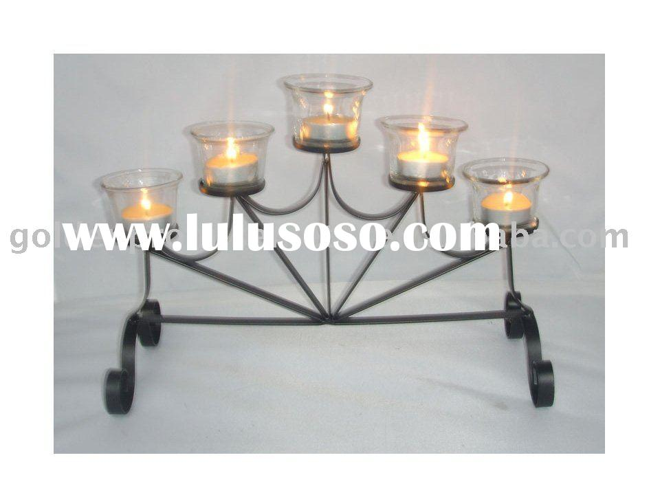 five bowl glass candle holder