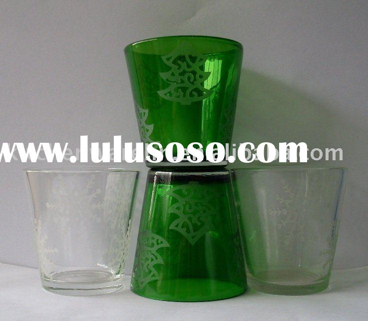 glass candle holders with decal and engrave body