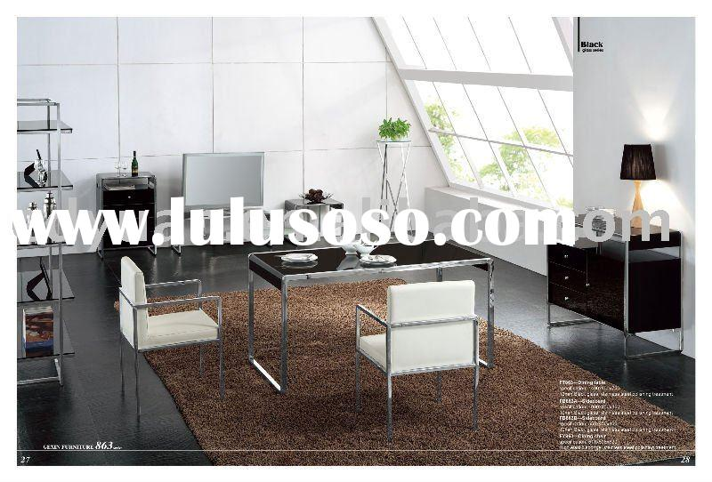 modern steel and glass dining table KT863