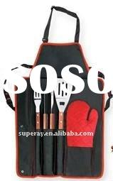ourdoor gourmet grill mate barbecue(BBQ) tool apron 4 set