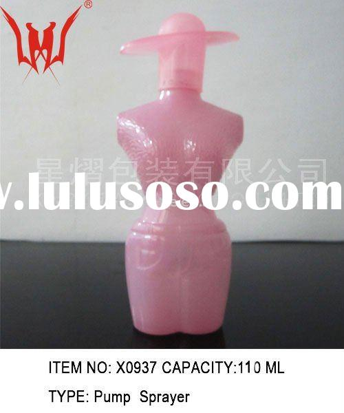 pink modern lady shaped perfume glass bottles with hat cap