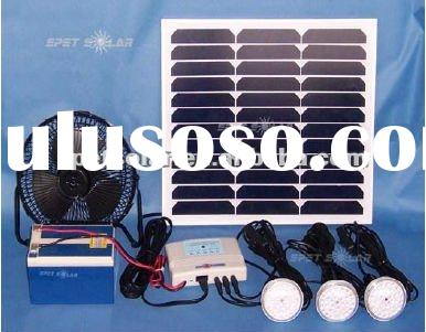 portable solar lighting kits with led lamps and fan