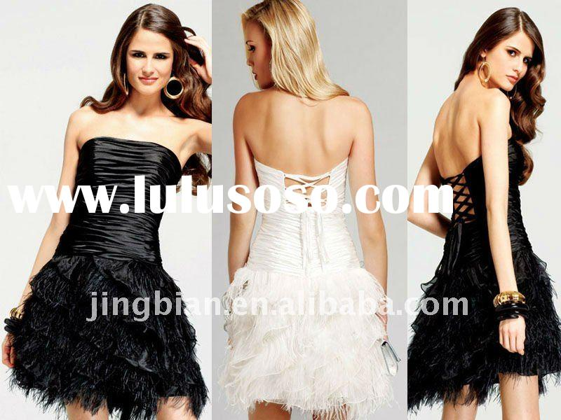 short party dress with lace up back and feather VS13