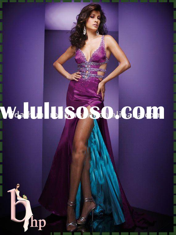 straight halter back Purple prom dress prom gown