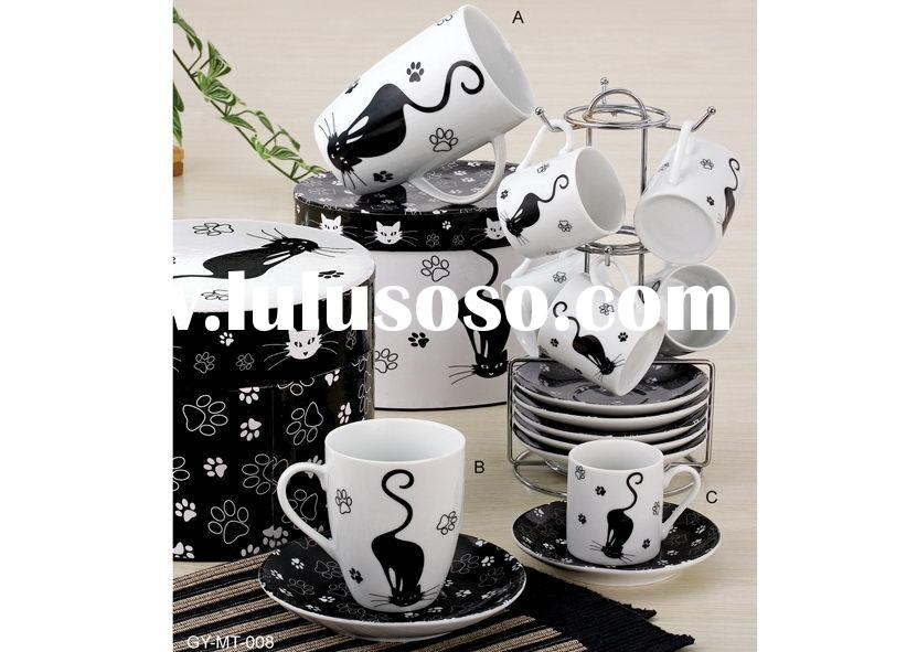tea set in cat design: cup and saucer and mug items. Item No.: GY-MT-008