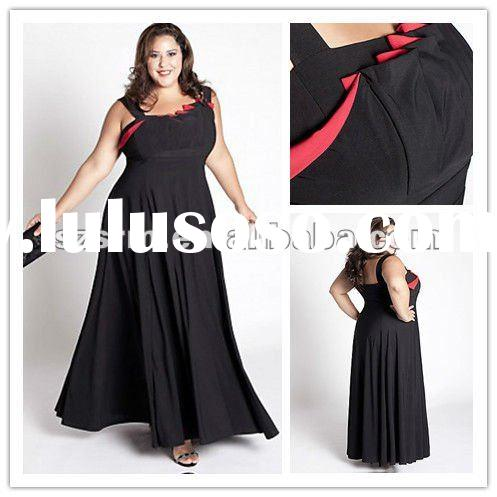 vibrant modest big size women a-line black and red evening dress
