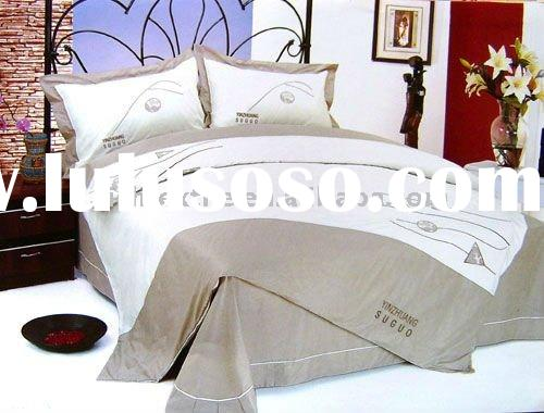 100% Cotton Embroidery Bedding Set/Bedspread Set/Oriental Bedding Set/Hotel Bedding Set/Fitted Sheet