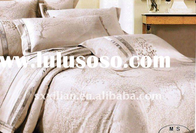 100%silk damask jacquard bedsheet set/silk bedding fabric/flat sheet set/duvet cover set/embroidery