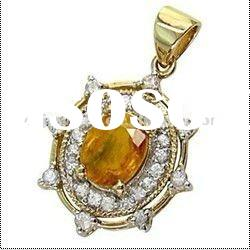 14k Gold Dainty 3.25 ct Yellow and White Sapphire Necklace Pendant