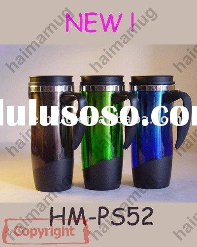 16oz double wall stainless steel travel mug with lid handle
