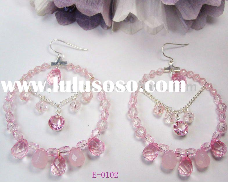 2011 fashion costume jewelry handmade pink glass beads large hoop earrings