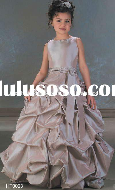 2012 Affordable hot sale taffeta flower girl dresses ball gown FL001