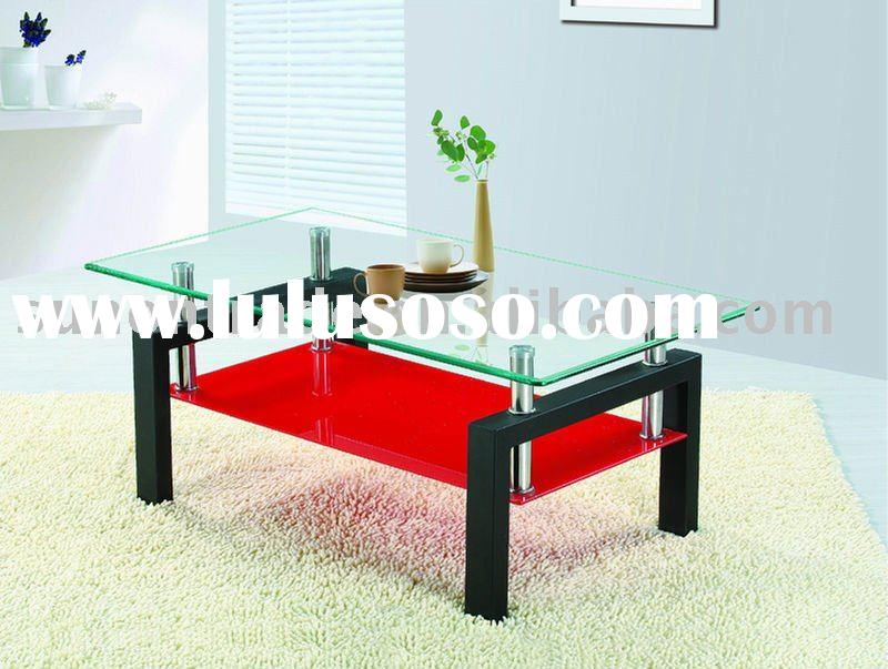 2012 MODEL tempered glass coffee table designs with stainless tube