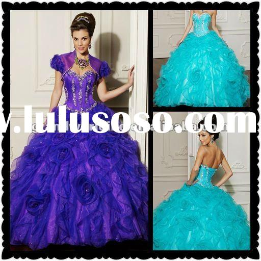 2012 New Arrival Short Sleeves Ball Gown Organza Royalbule Quinceanera Dresses MLQ-002