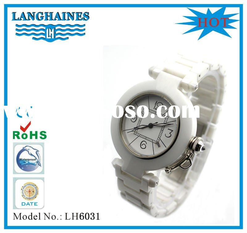 2012 unique stylish white ceramic watch for lady