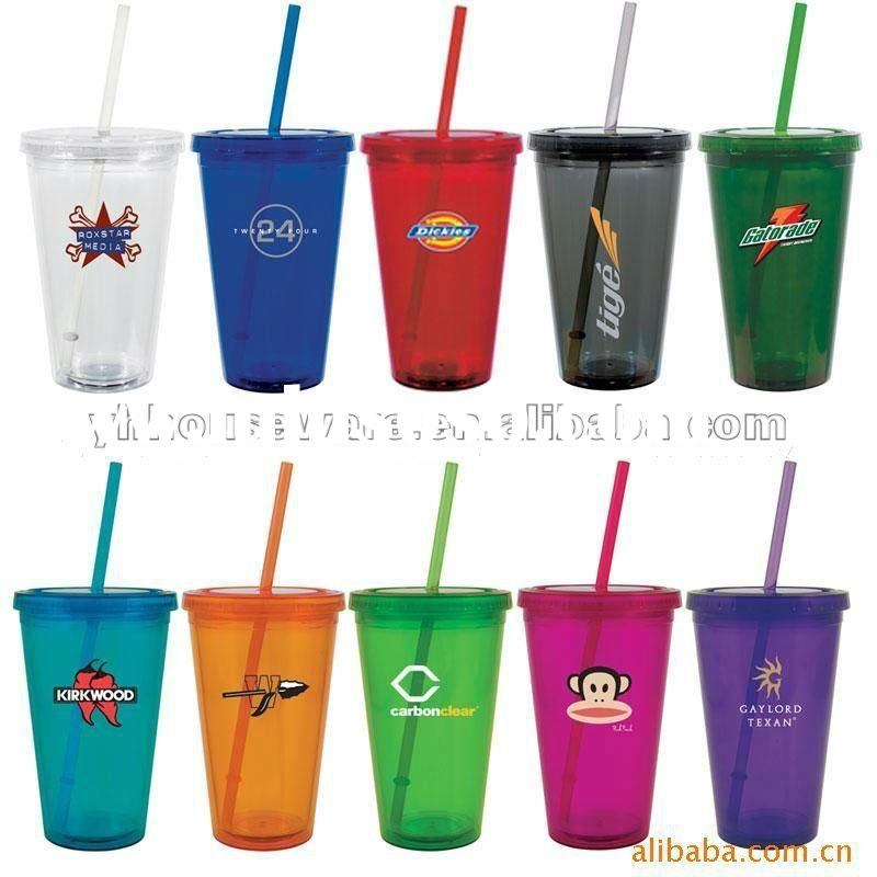 24oz double-wall plastic straw cup