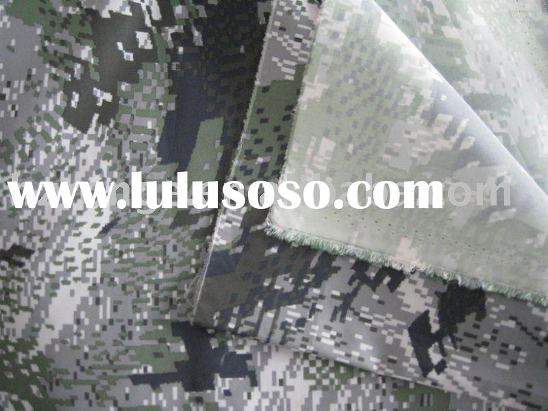 300T polyester pongee camo printed waterproof washable fabric