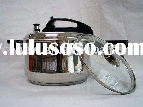 3pcs stainless steel pressure cooker & pan cookware w/glass lid