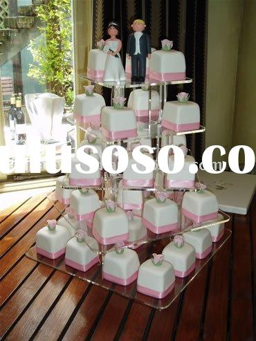 5 tier acrylic spiral square cake stand