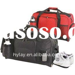 600D Polyester sports duffle bag with shoe compartment