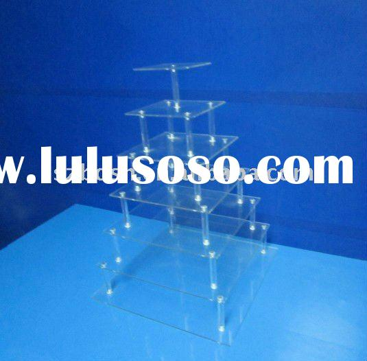 7-Tier Square Acrylic Cupcake Stand,Perspex Bakery Display,Acrylic Cake Seperator