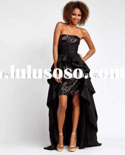 AYP329 New custom made black sequins short with tail prom dresses