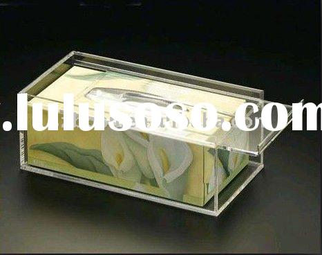 Acrylic Tissue Box with Sliding Closure Lid