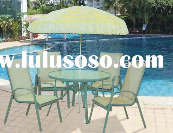 Beach umbrella with fiberglass table and chairs (complete set)