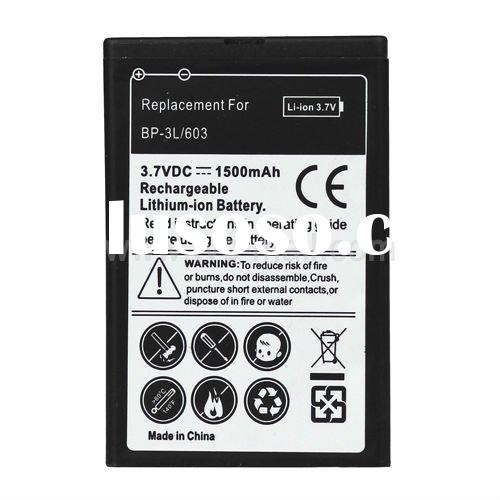 Cell Phone BP-3L Battery Replacement for Nokia 1500mAh