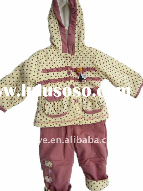 Cotton Winter Warm Baby Girls Hoodie Clothes Suits